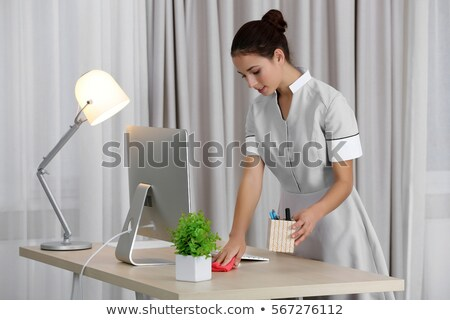 housemaid maid dusting on lamp Stock photo © ssuaphoto