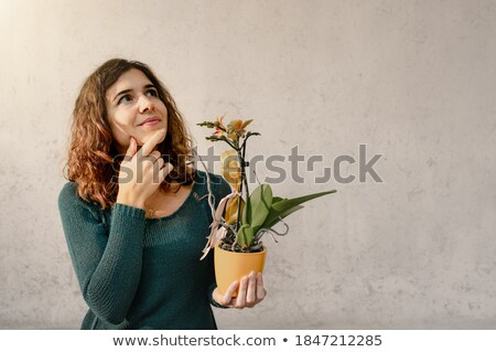 Smiling lady gardener potting up spring flowers Stock photo © ozgur