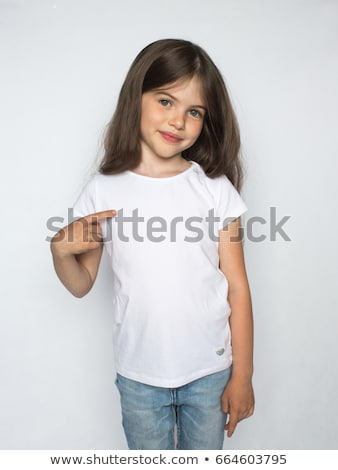 smiling little girl in white blank t-shirt Stock photo © dolgachov