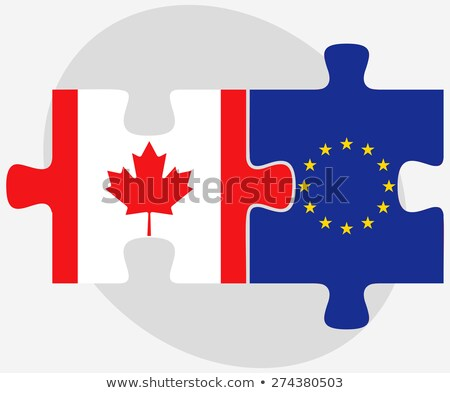canada and european union flags in puzzle stock photo © istanbul2009