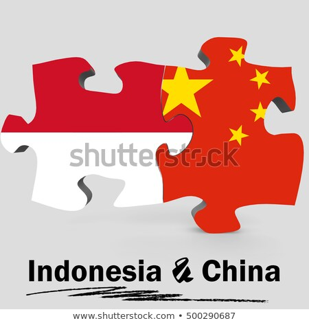 Indonezja Chiny flagi puzzle wektora obraz Zdjęcia stock © Istanbul2009