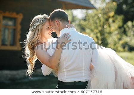 Bruiloft paar lopen park bruid bruidegom Stockfoto © kasto
