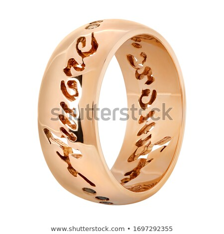 Golden ring with pink gem over white Stock photo © vtls