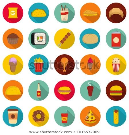 Flat Food Sushi Circle Icons Set Stock photo © Anna_leni