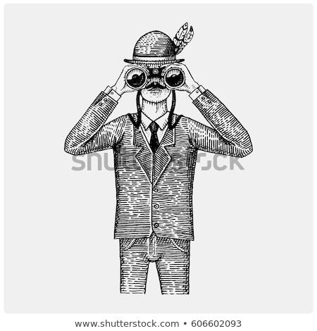 Vintage binocular in mans hand Stock photo © michaklootwijk