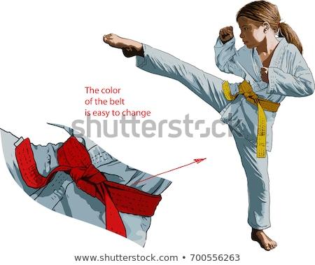 Karate lány rúgás láb kép kislány Stock fotó © stockyimages