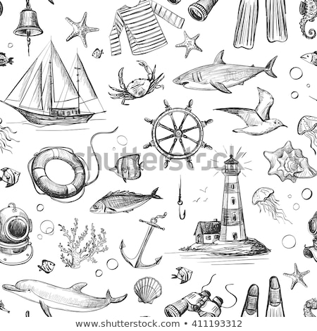 life buoy and hand draw icon Stock photo © netkov1