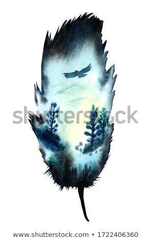 Dupla kitettség vízfesték ősz tájkép vektor Stock fotó © balasoiu