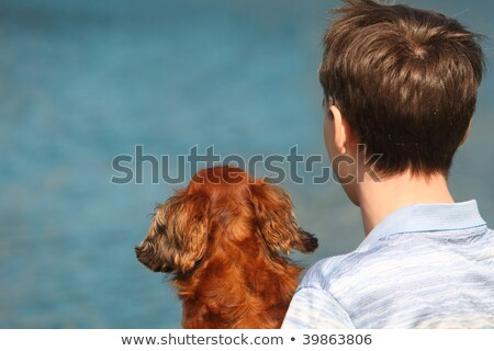 Young man and his dachshund  from back outdoor against water Stock photo © Paha_L