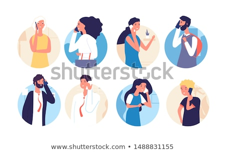 cheerful cute woman talking on the phone stock photo © deandrobot