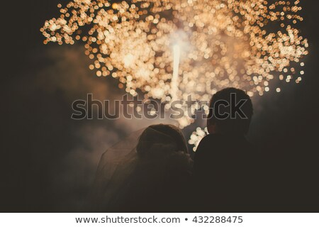 Stock foto: Fiance Bride Kiss Bouquet And The Sky