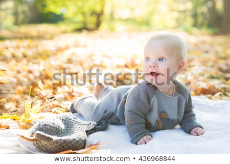 blue-eyed blond sits with the son in the park in autumn Stock photo © Paha_L
