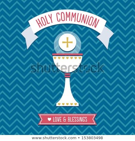 primeiro · comunhão · convite · azul · imagem - foto stock © marimorena