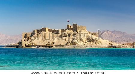 velho · castelo · pôr · do · sol · ruínas · cidade · verde - foto stock © givaga