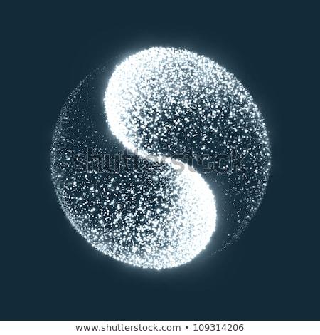 Blau Yin Yang Symbol weiß Frieden chinesisch Stock foto © zven0