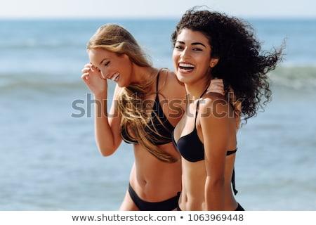 Mädchen schwarz bikini Jahre Frau Strand Stock foto © dash