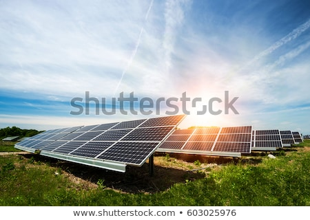 Solar power. Solar panels on green field Stock photo © orensila
