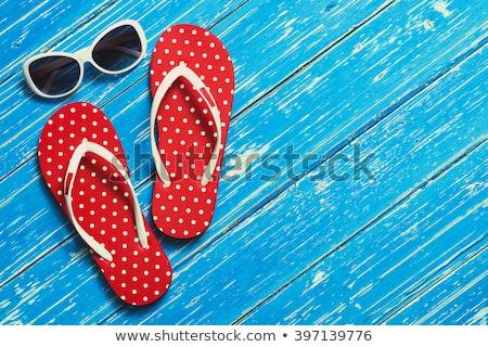 Lány napszemüveg papucs boldog kék ruha Stock fotó © Massonforstock