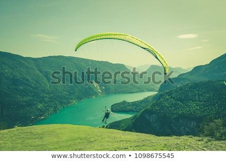 человека парашютом рисунок белый фон Сток-фото © bluering