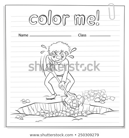 A worksheet with a man digging the ground Stock photo © bluering