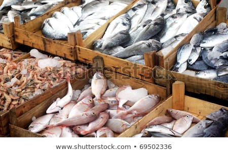 Stock photo: Shrimps and prawns in the fish market