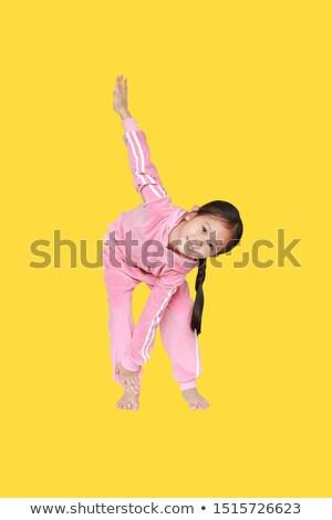 kicsi · japán · lány · torna · nyújtás · vonzó - stock fotó © o_lypa