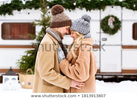 élégant · couple · sombre · chambre · femme · modèle - photo stock © konradbak