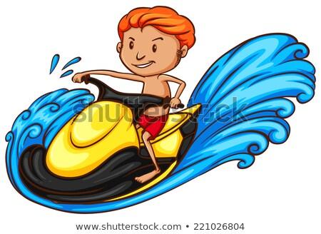Simple boceto hombre ilustración playa agua Foto stock © bluering