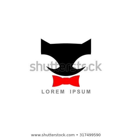 黒猫 赤 弓 ベクトル ロゴ テンプレート ストックフォト © MaryValery
