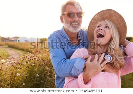 Gelukkig paar liefde tent portret Stockfoto © deandrobot