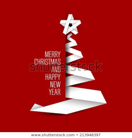 Merry Christmas card with tree made from paper stripes Stock photo © orson