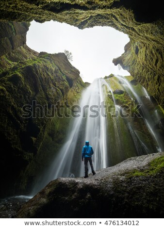 Tourist looks at the big waterfall in Iceland stock photo © Kotenko