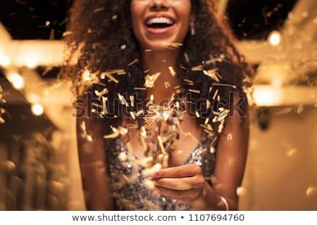 eğlence · genç · kadın · yanan · havai · fişek · Noel · zemin - stok fotoğraf © dash
