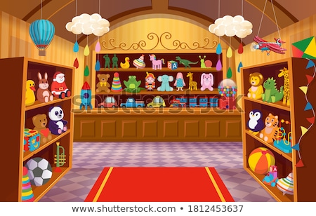 Foto stock: Brinquedo · compras · ilustração · branco · madeira · criança