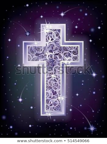 Silver cross in starry night sky, vector illustration Stock photo © carodi