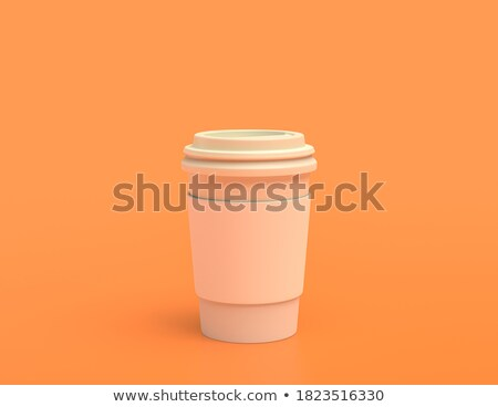 white cup on orange background solid Stock photo © 7Crafts