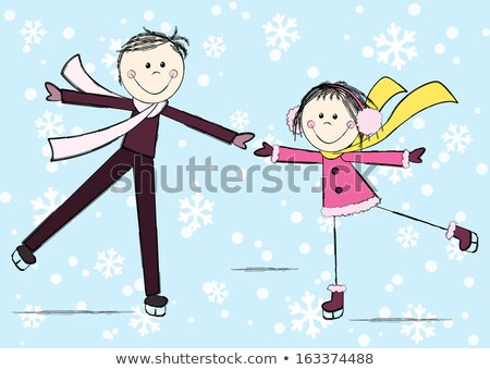 Funny figure skating. Girl and boy skating Stock photo © orensila