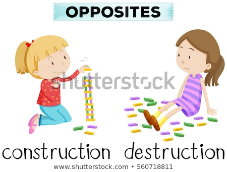 Flashcard for opposite words construction and destruction Stock photo © bluering