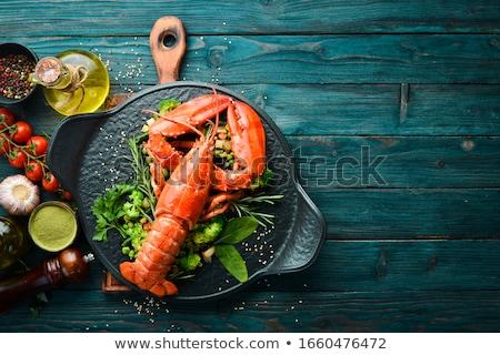 piros · homár · izolált · fehér · étel · eszik - stock fotó © lightsource