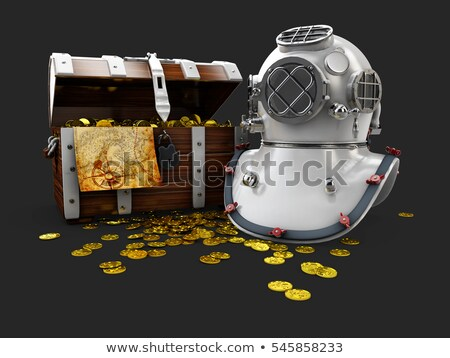 vintage wooden chest with golden coin and aqualung 3d illustration isolated stock photo © tussik