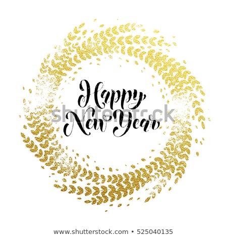 happy new year golden text with laurel wreath Stock photo © SArts