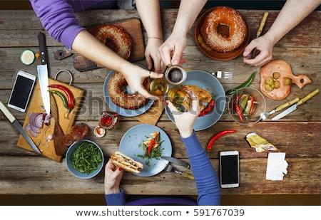Essen trinken Tabelle genießen Essen Wein Stock foto © Yatsenko