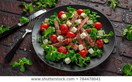 Disznóhús hús grillezett friss zöldség saláta fehér Stock fotó © Yatsenko