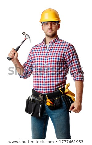 caucasian carpenter holding a hammer stock photo © rastudio