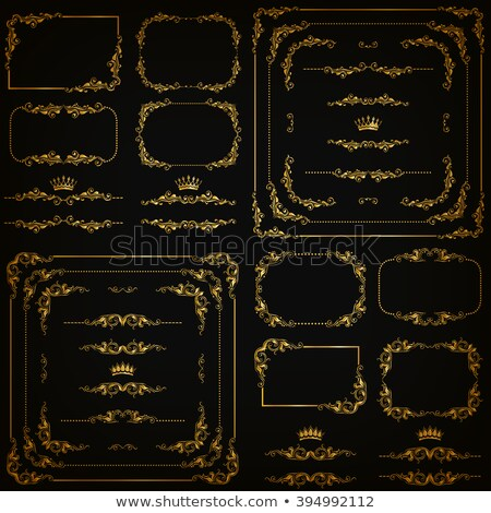 golden decorative calligraphic ornaments corners borders and frames for page decoration and design stock photo © blue-pen