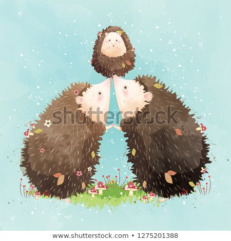 illustration of hedgehogs family Stock photo © adrenalina