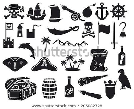 kalózok · ikon · gyűjtemény · vektor · webes · ikonok · grunge · stílus - stock fotó © ayaxmr