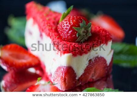 Frescos fresa yogurt torta alimentos Foto stock © zoryanchik