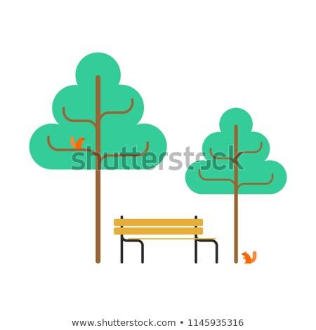 Park bank sincap ağaçlar kare nesne Stok fotoğraf © MaryValery