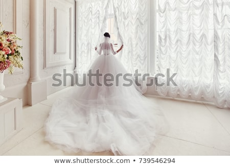 menyasszony · gyönyörű · esküvői · ruha · fehér · szoba · nő - stock fotó © dmitriisimakov